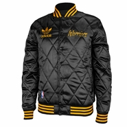Golden State Warriors adidas Quilted Satin Front Snap-Up Jacket - Black