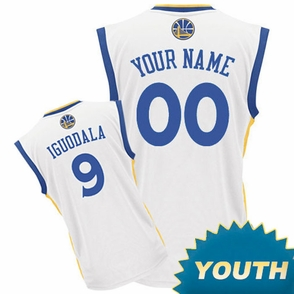 Golden State Warriors adidas  Customizable Youth Home Replica Jersey - White<br><b><i>Customize your name or any player!</i></b> - Click to enlarge