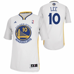 Golden State Warriors adidas Revolution 30 David Lee #10 Short Sleeve Swingman Alternate Jersey - White - Click to enlarge