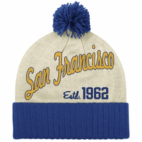 Golden State Warriors adidas San Francisco 1962 Cuffed Knit Beanie - Cream/Royal - Click to enlarge