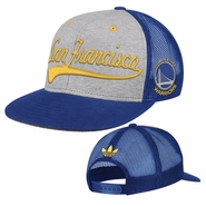 Golden State Warriors adidas San Francisco Script Logo Snapback - Grey