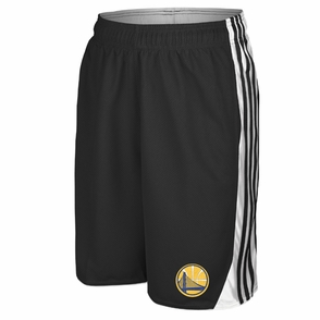 Golden State Warriors adidas Secondary Logo 3-Stripe Hoop Short - Black - Click to enlarge