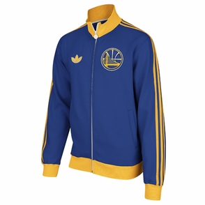 Golden State Warriors adidas Secondary Logo Fleece Track Jacket - Royal/Gold - Click to enlarge