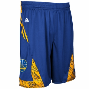 Golden State Warriors adidas Secondary Logo Pre-Game Short - Royal/Gold - Click to enlarge