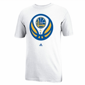 Golden State Warriors Adidas Short Sleeve Partial Logo Tee-White - Click to enlarge