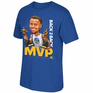 Golden State Warriors adidas Stephen Curry #30 Back 2 Back Caricature MVP Short Sleeve Tee - Royal