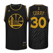 Golden State Warriors adidas Stephen Curry #30 Precious Metal Swingman Jersey - Black