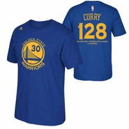 Golden State Warriors adidas Stephen Curry NBA Record Consecutive Games With 3-Pointer Tee - Royal