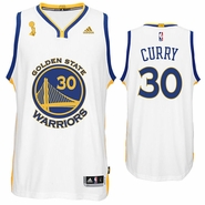 Golden State Warriors adidas Stephen Curry Trophy Ring Banner Swingman Jersey - White