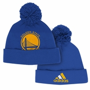 Golden State Warriors adidas Team Logo Cuffed Pom Cap - Royal