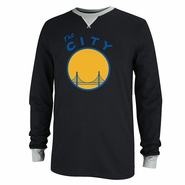 "Golden State Warriors adidas ""The City' Long Sleeve Applique Crew - Black"