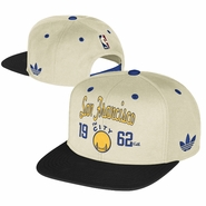 Golden State Warriors adidas 'The City' San Francisco 1962 Flat Brim Snapback Cap - Cream/Black