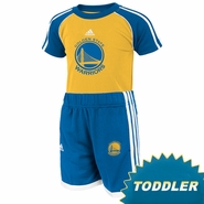 Golden State Warriors adidas Toddler Short Sleeve Tee & Shorts Set  - Gold/Royal