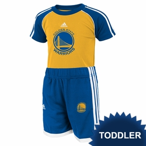 Golden State Warriors adidas Toddler Short Sleeve Tee & Shorts Set  - Gold/Royal - Click to enlarge