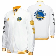 Golden State Warriors adidas Trophy Ring Banner On-Court Jacket - White