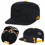 Golden State Warriors adidas Trophy Ring Banner Tonal Snapback - Black
