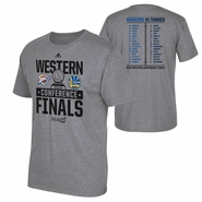 Golden State Warriors adidas Western Conference Finals Dueling Rosters Tee - Grey