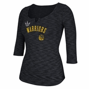 Golden State Warriors adidas Women's 3/4 Sleeve Team Sparkler Tee - Black