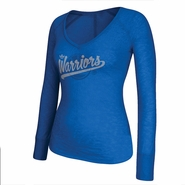 Golden State Warriors adidas Women's All That Glitters Long Sleeve Burnout V-Neck - Royal