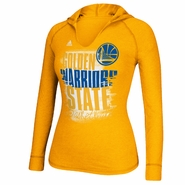 Golden State Warriors adidas Women's Brushed Out Long Sleeve Hooded Tee - Gold