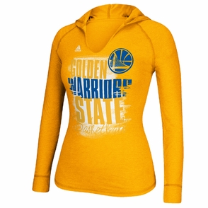 Golden State Warriors adidas Women's Brushed Out Long Sleeve Hooded Tee - Gold - Click to enlarge