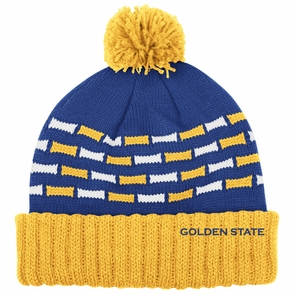 Golden State Warriors adidas Women's Cuffed Pom Knit Beanie - Royal/Gold - Click to enlarge