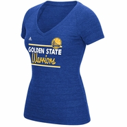 Golden State Warriors adidas Women�s Double Bar Tri-Blend V-Neck Tee � Royal