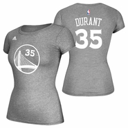 Golden State Warriors adidas Women's Kevin Durant #35 Gametime Name & Number Tee - Slate