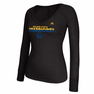 Golden State Warriors adidas Women's Long Sleeve Deep V-Neck Burnout Tee - Black