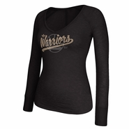 Golden State Warriors adidas Women's Long Sleeve V-Neck All that Glitters Burnout Tee - Black