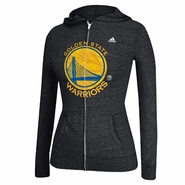 Golden State Warriors adidas Women's Pattern Logo Full Zip Hooded Tee - Black