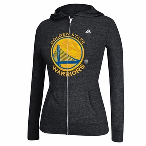 Golden State Warriors adidas Women's Pattern Logo Full Zip Hooded Tee - Black - Click to enlarge