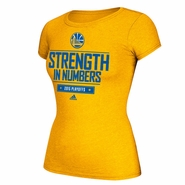 Golden State Warriors adidas Women's Playoff Giveaway Tee - Gold - Will Ship 5/1