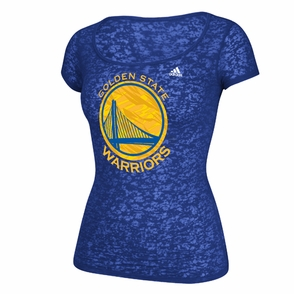 Golden State Warriors adidas Women's Scoop Neck Burnout Tee - Royal - Click to enlarge