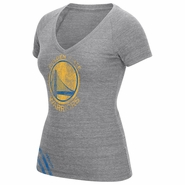 Golden State Warriors adidas Women�s Short Sleeve Big Stripes Primary Logo Tee � Grey