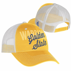 Golden State Warriors adidas Women's Structured Mesh Trucker Cap - Gold/White - Click to enlarge