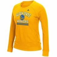 Golden State Warriors adidas Women�s True Stripes French Terry Crew Long Sleeve � Gold