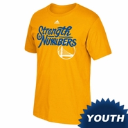 Golden State Warriors adidas Youth 2016 NBA Playoffs On-Court Mantra Tee - Gold