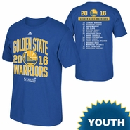 Golden State Warriors adidas Youth 2016 NBA Playoffs Participant Athletic Roster Tee - Royal