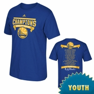 Golden State Warriors adidas Youth Banner Champions Roster Tee - Royal - Will Ship 7/8