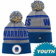 Golden State Warriors adidas Youth Cuffed Pom Knit Cap - Grey