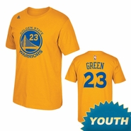 Golden State Warriors Adidas Youth Draymond Green #23 Name & Number Tee - Gold