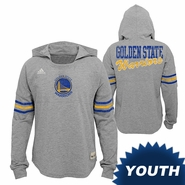 Golden State Warriors adidas Youth Girls Primary Logo Four Points Slouch Hoodie - Grey