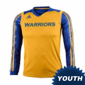 Golden State Warriors adidas Youth Impact Long Sleeve Shooting Shirt - Gold/Royal - Click to enlarge