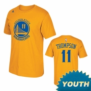 Golden State Warriors Adidas Youth Klay Thompson #11 Name & Number Tee - Gold