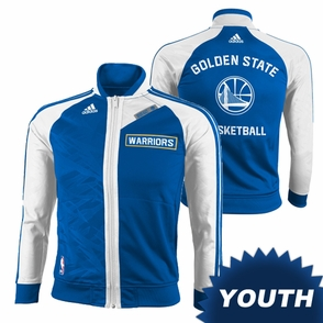 Golden State Warriors adidas Youth On-Court Warmup Jacket - Royal/White - Click to enlarge