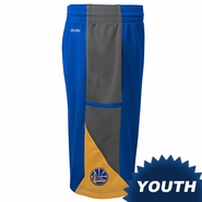Golden State Warriors adidas Youth Partial Logo 3-Tone Tip-Off Short - Royal/Gold/Grey
