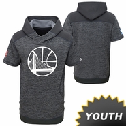 Golden State Warriors adidas Youth Partial Logo Pre-Game Short Sleeve Hoody - Slate