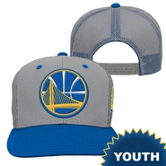 Golden State Warriors adidas Youth Partial Logo Trucker Mesh Adjustable Cap - Grey