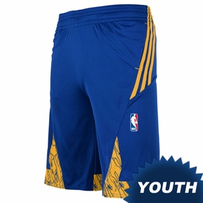 Golden State Warriors adidas Youth Pre-Game Short - Royal/Gold - Click to enlarge